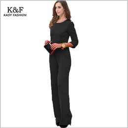 Wholesale Sexy Backless Jumpsuits - Wholesale- 2016 women sexy evening formal jumpsuits rompers XXL clubwear solid black red long sleeve backless bodysuit for nightwear party