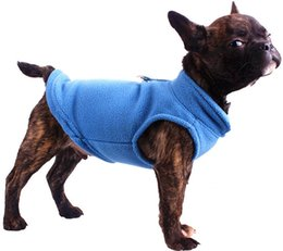 Wholesale Fleece Dog Sweaters - Free shipping pet dog puppy cat soft comfort outdoor fleece warm winter coat clothing vest six colors for choose