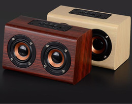 Wholesale Phone Bluetooth Retro - 2017 new listing W7 Retro Wood HIFI 3D Dual Loudspeakers Bluetooth Wireless Speaker With Hands-free TF Card AUX IN for phones
