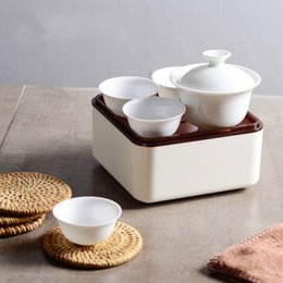 Wholesale Handicraft Cloth - Elegant 8Pcs Set Travel Tea Set Mini Outdoor Ceramic KongFu TeaBowl Cloth Holder Box Portable Handicraft Gift