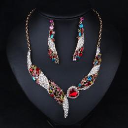 Wholesale Indian Choker Necklace Set - High Quality Multicolor Crystal Heart Wedding 2pcs set Necklace Earrings Sets Collar Choker Wedding Jewelry NE595