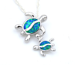 Wholesale Baby Blue Necklace - Sea World Baby Turtle Blue Fire Opal Pendant Necklace