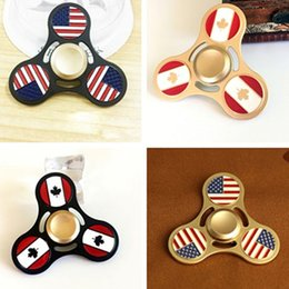 Wholesale National Flag Big - DHL New 4 Styles Metal Fidget Spinner National Flag Country Bunting US CA EDC Hand Spinner Finger Spinner Best Gifts Toys