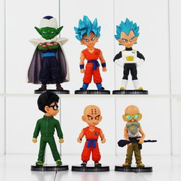 Wholesale Master Roshi Models - 6pcs lot Dragon Ball Z Q Version Son Goku Son Gohan Vegeta Piccolo Kuririn Master Roshi PVC Figures Model Toy Free shipping