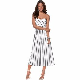Wholesale Casual Strapless Black Jumpsuit - Wholesale- Off Shoulder Strapless Sexy Playsuit 2017 Summer Rompers Womens Jumpsuits Black Striped Print Calf-Length Pants Overalls Women