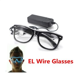 Wholesale New Shutter Fashion - Wholesale- Quality Fashion Top El Wire Neon Light Up Shutter New Arrival Glow LED Glasses Rave Costume Party DJ Bright SunGlasses