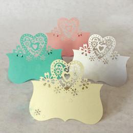 Wholesale Love Place Cards - Wholesale-50 pcs Love Heart Laser Cut Place Cards Wedding Party supplies Table Name 9 * 10CM decoration boda