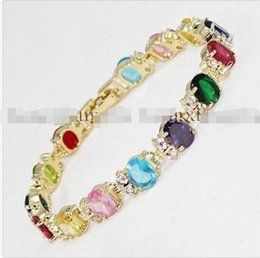"Wholesale Tungsten Red Resin Inlay - Details about Multicolor Zircon Crystal Inlay Chain Jewelry Bracelet 7.5"" AAA G6"
