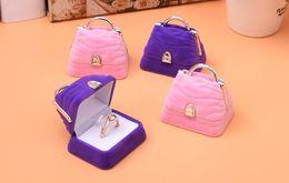 Wholesale Wedding Rings Velvet Bags - 10Pcs Lot MINI tote Bag Velvet Jewelry Ring  Earring Gift Packaging Display Box For Wedding Jewelry Boxes 2017