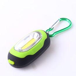 Wholesale Dive Rings Wholesale - Handheld FlashLights Portable Super Mini COB Light Carabiner LED FlashLight Key Ring Torch 3-Mode Keychain Lamp Lantern With Button Battery