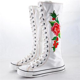 Wholesale White Knee High Sneakers - Girls' Knee High Punk Peony flower Embroidery Canvas Boot Flat Heel Lace Up Women Shoes sneakers high top