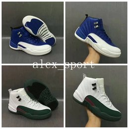 Wholesale Basketball Official - 2017 Official Color Retro 12 Basketball Shoes for Cheap Airs 12s XII Midnight Navy Outdoor Trainers Sneakers White Blue Green Size 40-47