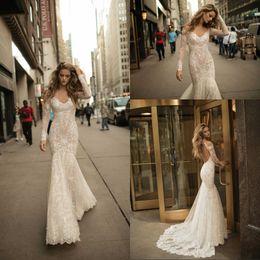 vestidos de noiva berta lantejoulas Desconto 2017 lindo berta sereia vestidos de casamento mangas compridas lantejoulas vestidos de noiva de renda cheia sexy backless vestidos de noiva vestidos de noiva