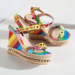 Wholesale Glitter Girl Shoes - Summer Dress Platform Women Party Shoes Ethnic Wedge Sandals Girls Glitter Platform Sandals Open Toes Valentine Rainbow Wedges