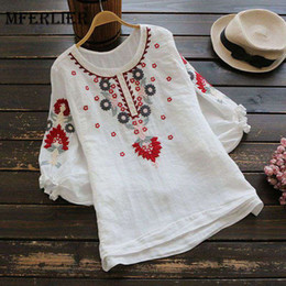 Wholesale Three Quarter Sleeve Floral Blouse - Mferlier Mori Girl Autumn Embroidery Blouse O Neck Three Quarter Puff Sleeve White Red Loose Casual Women Blouses