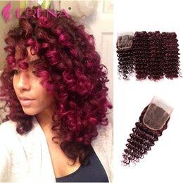 Wholesale Tights Bundle - Burgundy Virgin Brazilian Human Hair Weaving 3Pcs Tight Deep Curly Wine Red Hair Weave 99J Kinky Curl Hair Bundle