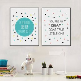 Wholesale Art Painting Quotes - 2 PCS Nordic Minimalist Kawaii Typography Dream Quotes Art Print Poster Nursery Wall Picture Canvas Painting No Frame Kids Room Decor