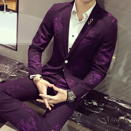 Wholesale Men S Grooming Set - Wholesale- Groom Wedding Mens Suits 2 Pieces Set Slim Fit Latest Design Peony Floral Printed Tuxedo Terno Masculino Prom Suits With Pants
