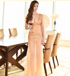 Wholesale Sexy Club Dresses Sparkly - 2017 Sparkly Gold Beads Rhinestone Prom Dresses Sheer Sexy Deep V Neck Long Formal Evening Party Gowns Night Club Dress ht05