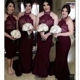 Wholesale Wedding Dresses Images Prices - 2017 Burgundy Bridesmaids Dresses Halter Wedding Party Gowns Mermaid Maid Of Honor Gowns Cheap Price Custom Made Dress for Party Wear