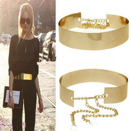 Atacado-1PC 66cm Mulheres Cintos Waistbands Punk Full Metal Espelho Cintura Cinto Metálico Placa De Ouro Largas Cummerbunds Com Correntes Senhora DP671419 supplier full plate gold belt de Fornecedores de cinto de ouro placa completa