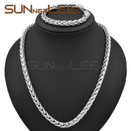 Wholesale Gold Filled Womens Necklace - 7mm Mens Womens Jewelry Gift Wheat Link Chain White Gold Filled Necklace Bracelet Set C02 WS