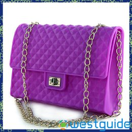 Wholesale Neon Cross Bag - Wholesale-silica gel jelly bags one shoulder cross body handbag chain neon candy color female bags
