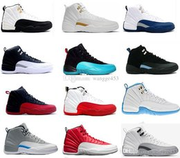 Wholesale Purple Cherry - 2018 cheap Basketball Shoes 12 man TAXI Playoffs Gray White Black Gym barons cherry RED Flu Game 12s sports sneakers boots