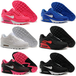 Wholesale Black Cushioned High Tops - Top Quality All Leather Air 90 Women Low Running Shoes kpu Unisex Cushion Black,Dark Blue,Pink Outdoor Sneakers Sports Shoes