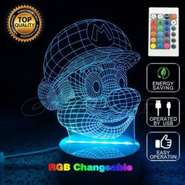 Wholesale Super Mario Wedding - Super Mario Bros Action Figure Toy Decoration Light LED USB Colors Changeable 3D Touch Night Light FOR Home Party Decoration