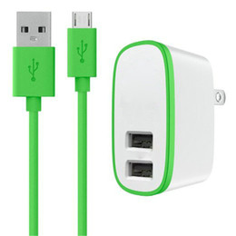 Wholesale dual usb port wall - 2 in 1 EU US UK Plug 10W 2.1A Dual USB Port Wall Charger + USB Cable for mobile phone With Retail package
