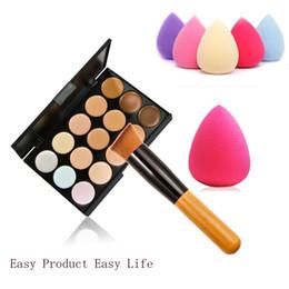 Wholesale concealer lipstick - Wholesale-15Colors Concealer Palette + Wooden Handle Brush + Teardrop-shaped Puff Makeup Base Foundation Concealers Face lipstick makeup