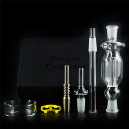Wholesale Wholesale Mini Glass Pipes - Nectar Collectors Kits With Titanium Tip 10mm Joint Mini Glass Pipe Oil Rig Straw Concentrate Honey Dab Straw Mini Bong NC01-10