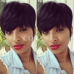 Wholesale Sexy Straight Black Hairstyle - Fashion Short Wigs Human Hair Pixie Cut Short Wigs Black Color Women Party Sexy Short Straight Human Hair Wigs