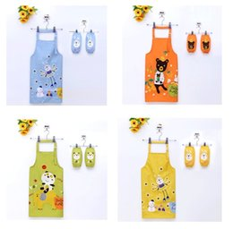 Wholesale Painting Bibs - Kids Adjustable Carton Waterproof Aprons with Pocket Art Painting Kids Draw Picture Bib Children Aprons Kids Aprons oversleeve set 12 Style