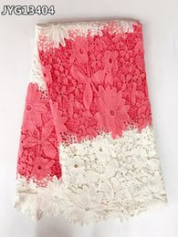 Wholesale Heavy Lace African Fabric Wholesale - Heavy pink and white chemical Guipure lace fabric african cord lace for wedding dress JYG134