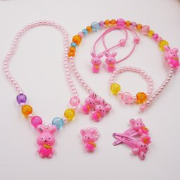 Wholesale Kids Pearl Jewelry Sets - Candy Color Children Robbit Jewelry Set Simulated Pearl Girl Kids Baby Stretch Necklace Bracelet Ring Hair accessories Set