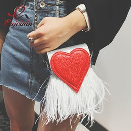 Wholesale Satin Tote Bags Purse - Wholesale-New design fashion feathers red heart pu leather Party Casual female totes ladies handbag chain shoulder bag phone purse flap