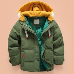Wholesale Korean Fur Hooded Jacket - 3-11 year old baby boy and girl down winter fashion jacket and jacket, children Korean cotton shirt, boy fur winter warm jacket