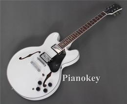 335 guitare électrique semi-creuse en Ligne-Guitares électriques Jazz 335 personnalisées au corps semi-creux de couleur blanche, guitares de manche en palissandre incrustées de points