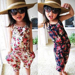 Wholesale Girls Suspender Pants - Girls Pants 100% Cotton Twins Pants Baby Clothes Girls Jumpsuit Kids Clothing Flower Print Summer Outfit Children Suspender Trousers