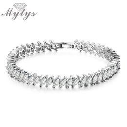 Wholesale Silver Chain Bracelete - Mytys Tone White Cubic Zirconia Tennis Chain Bracelet Wedding Bridal bracelete Gift B649