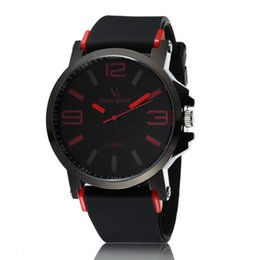 Wholesale New Steel V6 - Dropship Europe Brand Fashion V6 Brand Wristwatches Clock Male Silicone Band Big Dial Quartz Watch Sport Men's Water Proof Watches