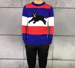 Wholesale Knitting Sweater Design Patterns - 2018 Men's Casual Striped Knitwear Fashion Design Jacquard Panther Pattern Knitted Sweater Unisex Pullover Multi-Color Knit Cotton Jumper