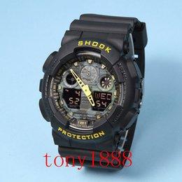 Wholesale New Digital Camouflage - Famous luxury brand watch men G GA100 camouflage Men sports watches LED light watch running hiking digital shock 100 Wristwatches