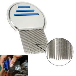 Wholesale Hair Teeth - Terminator Lice Comb Nit Free Kids Hair Rid Headlice Superdensity Stainless Steel Metal Teeth Remove Nits Brush Blue