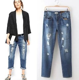 Wholesale Womens Harem Jeans - Wholesale- Brand New ZA High quality Womens Boyfriend Style Loose harem pants Female casual Ripped Washed Denim jeans Trousers pantalones