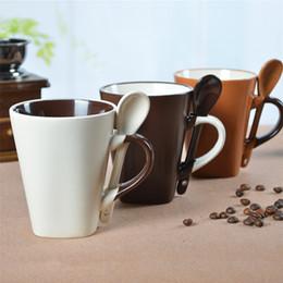 Wholesale Good Coffee Mugs - Wholesale- Square Milk Coffee Mug With Spoon Creative Goods Fincan Porcelain Drinkware Copo Brief Eco-friendly Mug Cup Stocked DDQ153