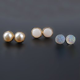 Wholesale Girls Dance Earrings Studs - 3 PCS Set Fashion White Pearl Crystal Stud Earrings For Girls Prom Dance Charms Women Ladies Party Jewelry Gift