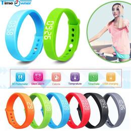 Wholesale Silent Alarm - Wholesale- Fitness Bracelet Smart Bracelet pedometer sleep monitor Silent Alarm time display excercise data memory wristband